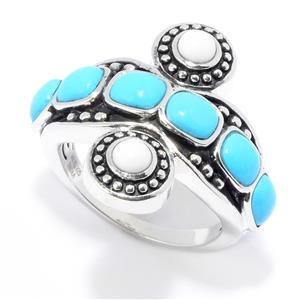 JOYA Southwest by Judy Crowell Sterling Silver Turquoise & White Prystine Ring