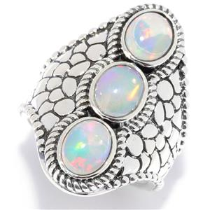 JOYA by Judy Crowell Sterling Silver Ethiopian Opal Multi Textured 3-Stone Ring