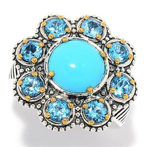JOYA by Judy Crowell Sterling Silver Sonora Beauty Turquoise & Blue Topaz Flower Ring