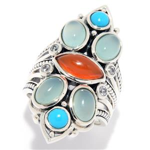 JOYA by Judy Crowell Sterling Silver Multi Gemstone Split Shank Shield Ring