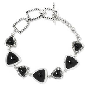 "JOYA by Judy Crowell Sterling Silver 8"" Triangle Shaped Gemstone Textured Toggle Bracelet"