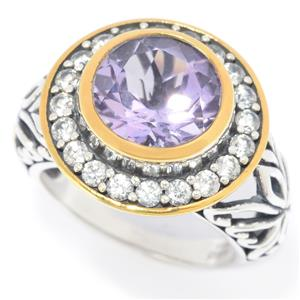 JOYA by Judy Crowell Sterling Silver 3.48ctw Pink Amethyst & White Zircon Halo Ring