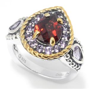 JOYA by Judy Crowell Multi Gemstone 3-Stone Halo Ring