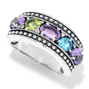 JOYA by Judy Crowell Sterling Silver 1.67ctw Amethyst, Peridot & Topaz Oxidized Band Ring