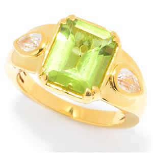 JOYA Gold Label by Judy Crowell 10 x 8mm Step Cut Gemstone & White Zircon Ring