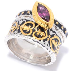 JOYA Gold Label by Judy Crowell Choice of Shape Gemstone & Enamel 2-Piece Ring Set