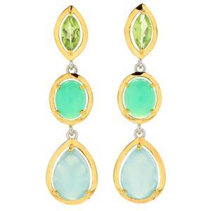"""JOYA Gold Label by Judy Crowell Sterling Silver 2"""" Multi Gemstone 3-Drop Earrings"""