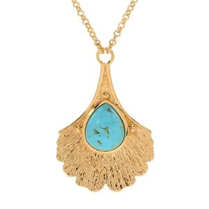 """JOYA Gold Label by Judy Crowell 18"""" 12 x 10mm Kingman Turquoise Leaf Necklace"""