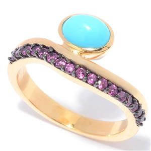JOYA Gold Label by Judy Crowell Sonora Beauty Turquoise & Gem Wave Band Ring