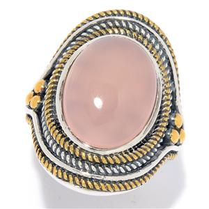 JOYA Gold Label Judy Crowell Sterling Silver 16 x 12mm Oval Chalcedony Textured Halo Ring