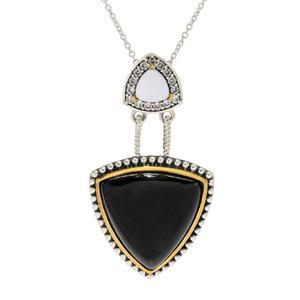 "JOYA by Judy Crowell Sterling Silver Gemstone, Prystine & White Zircon Pendant w/ 18"" Chain"