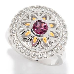 JOYA by Judy Crowell Sterling Silver Gemstone & White Zircon Halo Flower Ring