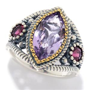 JOYA by Judy Crowell Sterling Silver Multi Gemstone Rope Textured Shield Ring