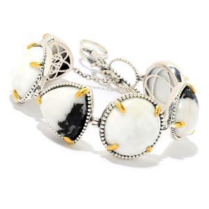 "JOYA by Judy Crowell Sterling Silver 9"" Multi Cut White Buffalo & Prystine Toggle Bracelet"