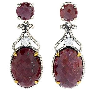 "JOYA by Judy Crowell 1.5"" Madurai Ruby & White Zircon Drop Earrings"