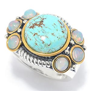 JOYA by Judy Crowell 12mm #8 Turquoise & Ethiopian Opal Oxidized Ring