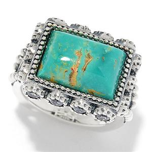 JOYA Southwest by Judy Crowell Sterling Silver Turquoise & Gem East-West Ring