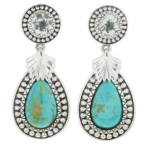 """JOYA Southwest by Judy Crowell Sterling Silver 1.5"""" Turquoise & Gem Drop Earrings"""