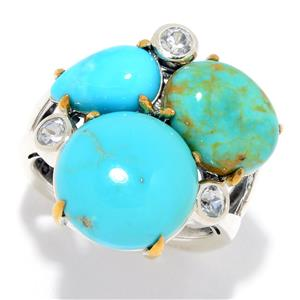 JOYA by Judy Crowell Multi Turquoise & White Zircon Cluster Ring