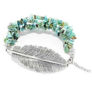 "JOYA Southwest by Judy Crowell Sterling Silver 7"" Tibetan Turquoise Multi Strand Feather Bracelet"