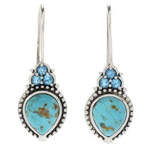 JOYA Southwest by Judy Crowell Kingman Turquoise & Swiss Blue Topaz Drop Earrings