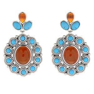 """JOYA Southwest by Judy Crowell Sterling Silver 1.5"""" Turquoise & Agate Earrings"""