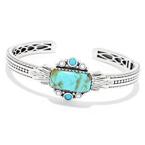 JOYA Southwest by Judy Crowell Sterling Silver Turquoise & Gem Cuff Bracelet