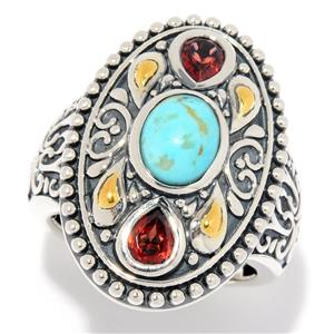 JOYA Southwest by Judy Crowell Sterling Silver Kingman Turquoise & Gem Oval Ring