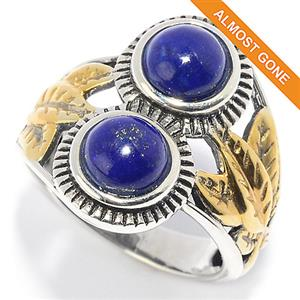 JOYA Southwest by Judy Crowell Sterling Silver Round Gemstone Leaf Detailed 2-Stone Ring